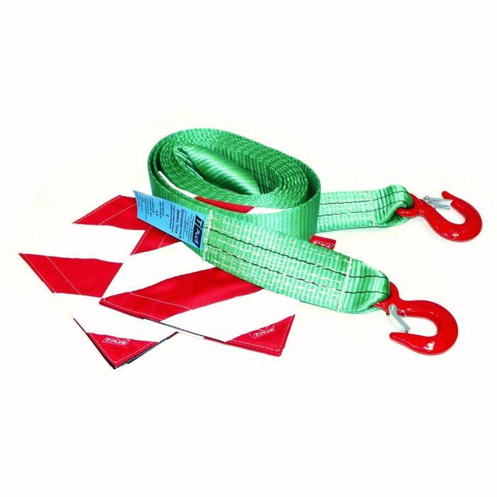 Буксировочный ремень Tplus 6/9 т 4.5 м (а/м до 3 т) Крюк/Крюк с флажками, T002120