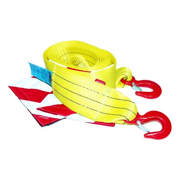 Буксировочный ремень Tplus 8/13 т 5 м (а/м до 5 т) Крюк/Крюк с флажками, T002267