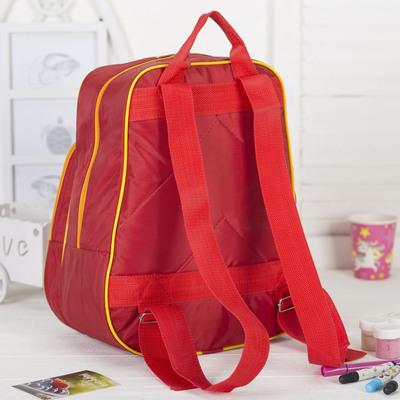 """Рюкзак детский на молнии """"Жирафик"""", 1 отдел, наружный карман, цвет красный/жёлтый"""