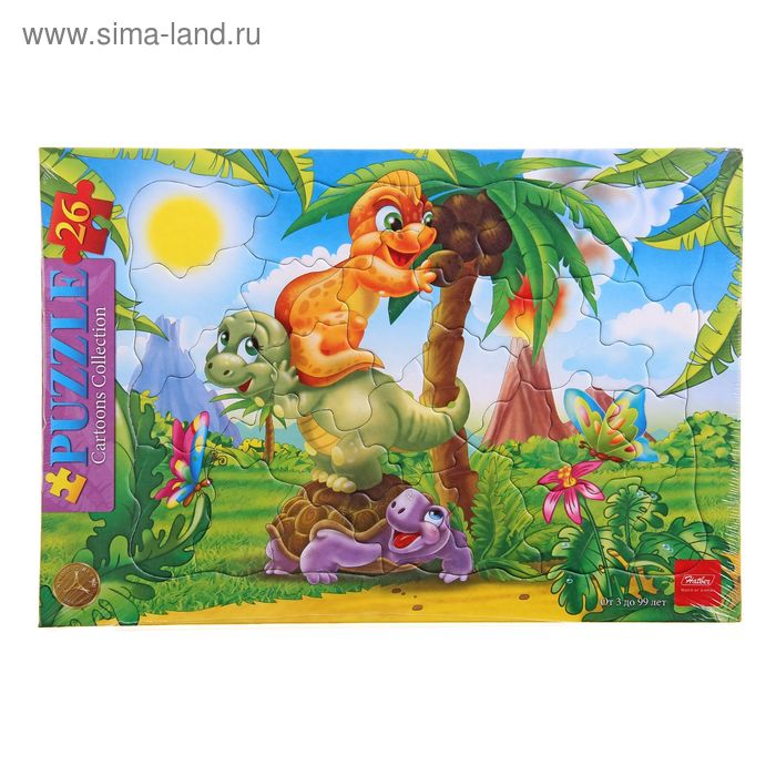"""Пазлы в рамке """"Веселые динозавры"""", 26 элементов"""