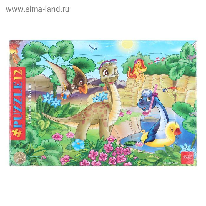 """Пазлы в рамке """"Динозаврики"""", 12 элементов"""