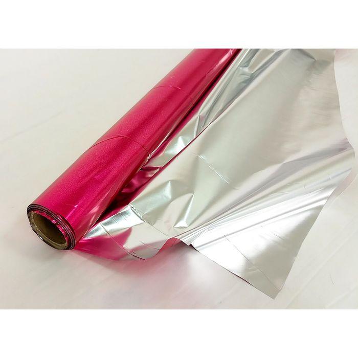 Полисилк односторонний, цвет малиновый + серебряный, 1 х 20 м