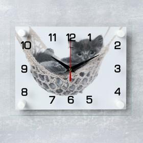 """Часы настенные, серия: Животный мир, """"Котенок в гамаке"""", 20х26 см  микс"""