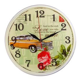 "Часы настенные круглые ""Жёлтый олд кар"", 25 см"