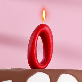 "Свеча для торта цифра ""Овал"" красная ""0"", плёнка"
