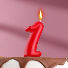 "Свеча для торта цифра ""Овал"" красная ""1"", плёнка"