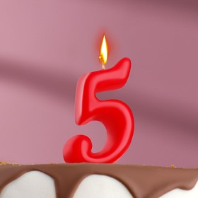 "Свеча для торта цифра ""Овал"" красная ""5"", плёнка"