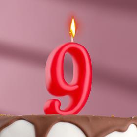 "Свеча для торта цифра ""Овал"" красная ""9"", плёнка"