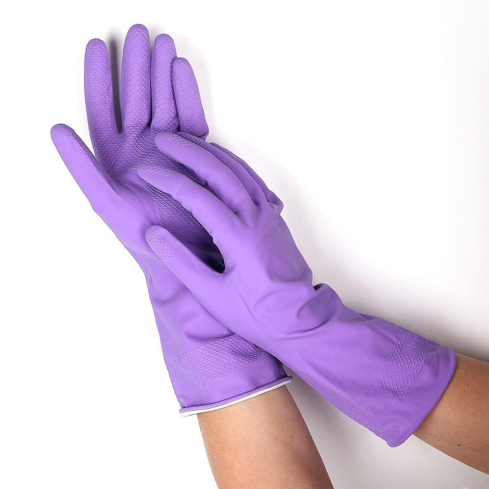 Перчатки латексные с хлопковым напылением, размер M, цвет МИКС