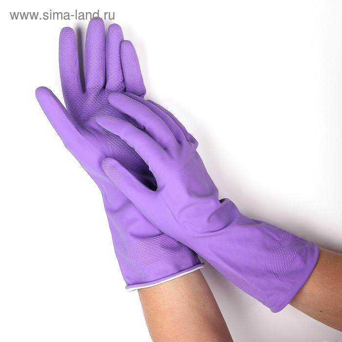Перчатки латексные с хлопковым напылением, размер S, цвет МИКС