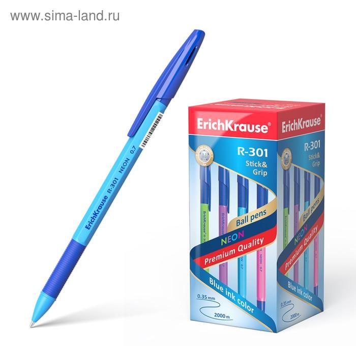 Ручка шариковая Erich Krause R-301 Neon Stick&Grip, узел 0.7мм, чернила синие, резиновый упор, микс, EK 42751