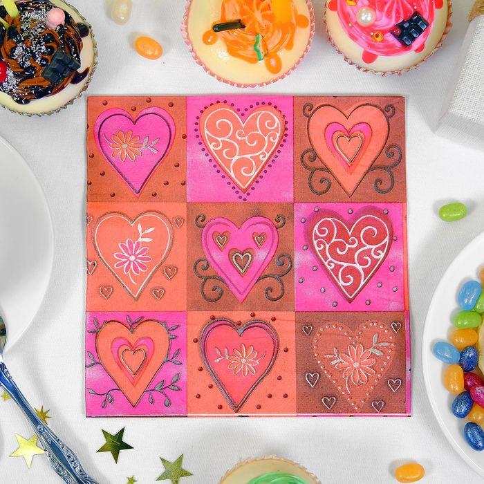Салфетки бумажные (набор 20 шт) 33*33 см Сердечки в рамках