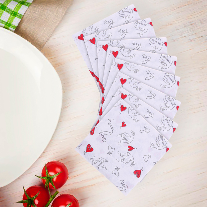 Салфетки бумажные (набор 20 шт) 33*33 см Сердечки и голубки