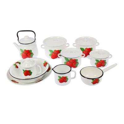 """Набор """"Клубничный"""", 10 предметов: кастрюли 2, 3, 4,5, 5,5 л; чайник 3,5 л, заварочный чайник 1 л, ковш 1,5 л, кружка 1,4 л, миска 4 л, блюдо 3 л"""