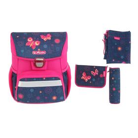 Ранец на замке Herlitz Loop Plus 37х31х24 см см, для девочек, с наполнением, Butterfly