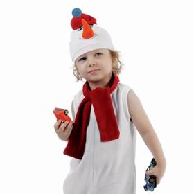 """Набор """"Снеговик в красной шапке"""" шапка, шарф размер 51-55, велюр в Донецке"""