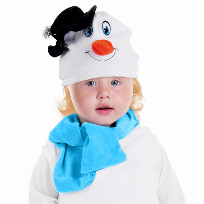 """Набор """"Снеговик в черной шляпке"""" шапка, шарф размер 51-55, велюр"""