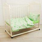 """Детское постельное бельё Карамелька """"Жирафики"""" 112х147 см, 60х120х20 см (на резинке), 40х60 см - 1шт., цвет зелёный"""
