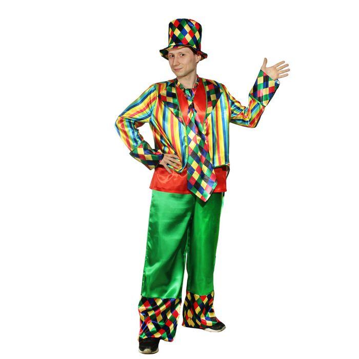 """Взрослый карнавальный костюм """"Клоун"""", шляпа, фрак, безрукавка, брюки, галстук, р-р 56-58, рост 182 см - фото 724798204"""