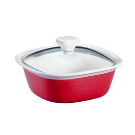 Форма для запекания квадр, 1.4 л, с крышкой, цвет красный