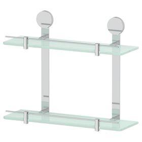 Полка двухъярусная, ширина 40 см, матовое стекло, хром