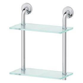 Полка двухъярусная, ширина 30 см, матовое стекло, хром