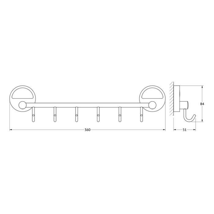 Штанга с шестью крючками 35 см, хром, FBS