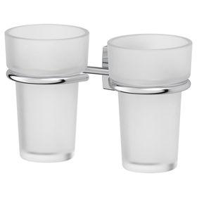 Держатель с двумя стаканами, матовый хрусталь, хром, FBS