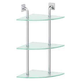Полка угловая трёхъярусная 30 см, матовое стекло, хром, ELLUX