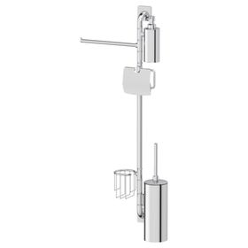 Штанга с пятью аксессуарами для туалета с биде 90 см, хром, ELLUX Ош