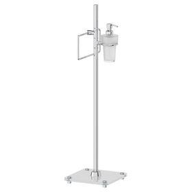 Стойка с двумя аксессуарами для туалета с биде 80 см, матовое стекло, хром, FBS