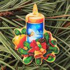 Значок деревянный «С Рождеством! Свеча»