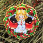 Значок деревянный «С Рождеством! Ангел»