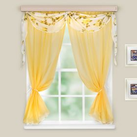 A set of curtains for the kitchen Lightness 260x160 cm, St. yellow, MIX print, pe100%