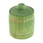Бочонок для мёда и сыпучих продуктов 150 мл, 95*70 мм, зелёный резной, липа