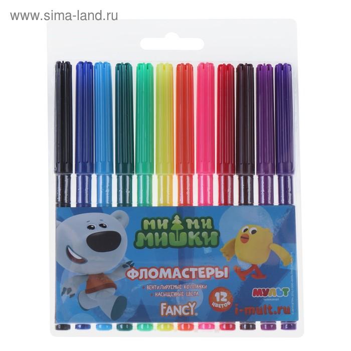 """Фломастеры 12 цветов """"МиМиМишки"""", PVC, европодвес"""