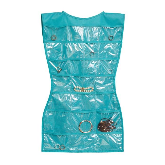 Органайзер-платье для украшений, цвет бирюзовый