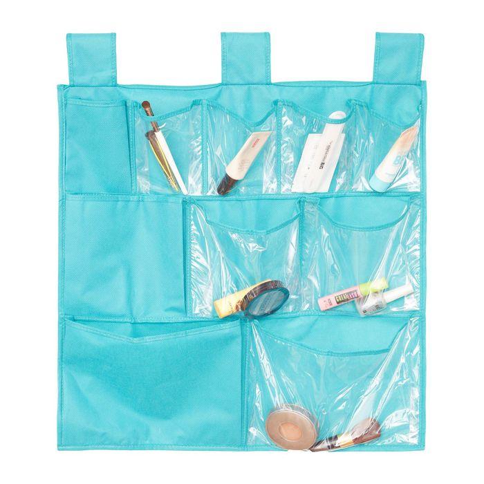 Органайзер для аксессуаров и мелочей подвесной, 10 карманов, цвет бирюзовый