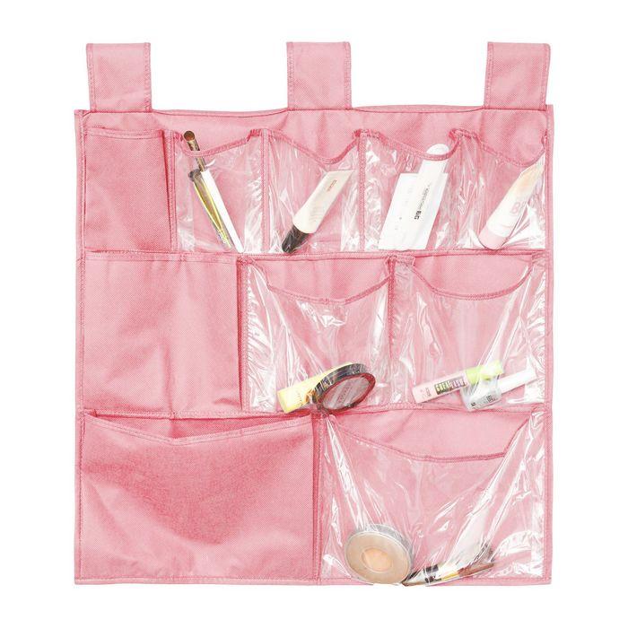 Органайзер для аксессуаров и мелочей подвесной, 10 карманов, цвет розовый