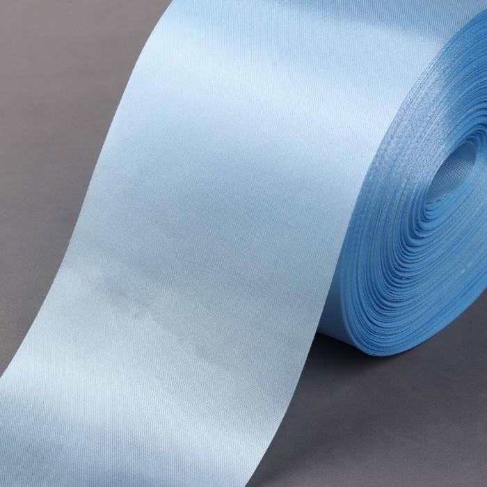 Лента атласная, 100 мм × 100 ± 5 м, цвет голубой