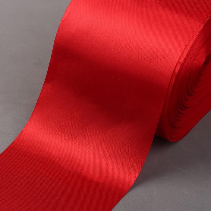 Лента атласная, 100 мм × 100 ± 5 м, цвет красный