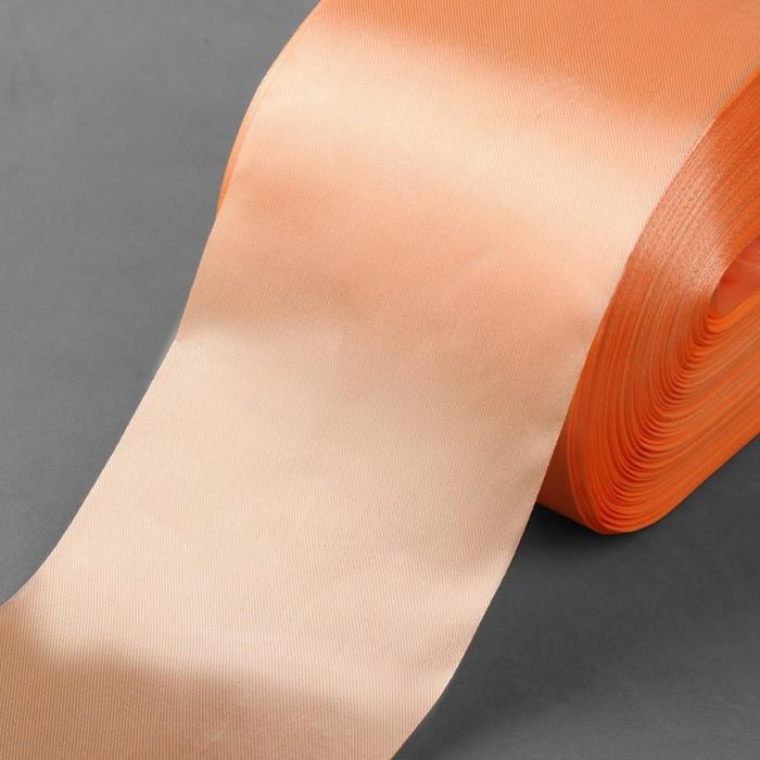 Лента атласная, 100 мм × 100 ± 5 м, цвет персиковый