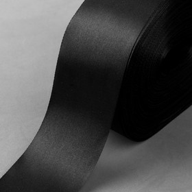 Лента атласная, 50 мм × 100 ± 5 м, цвет чёрный