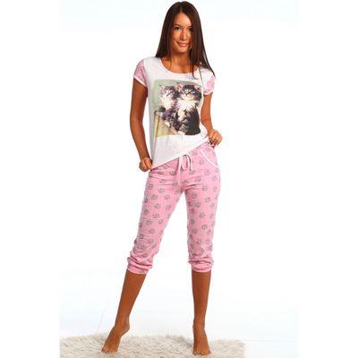 Пижама женская (футболка, бриджи) Два котенка 61 МИКС, принт Коты, р-р 42