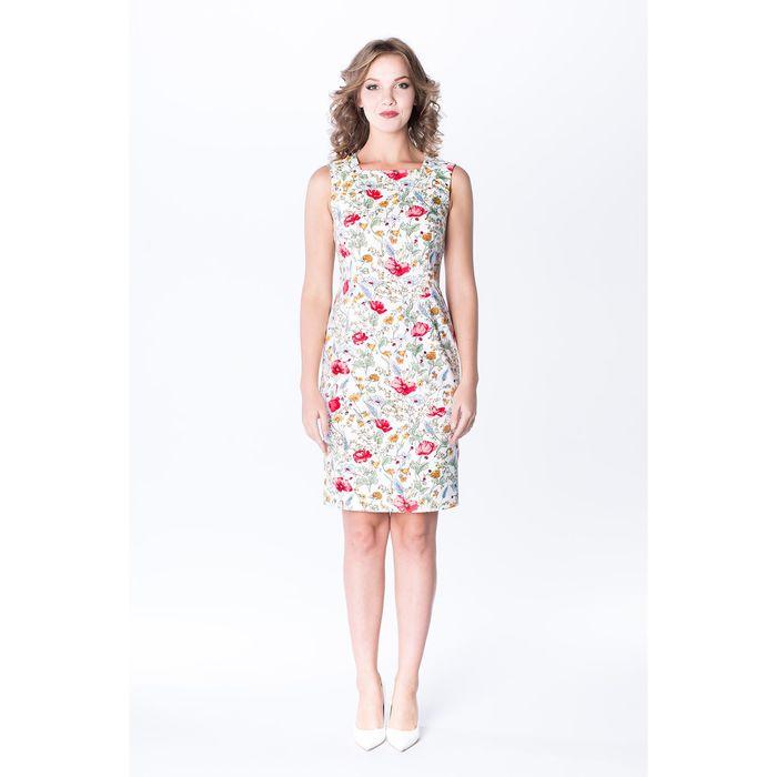 Платье-футляр женское, цвет красно-белый, р-р 48, рост 170 см