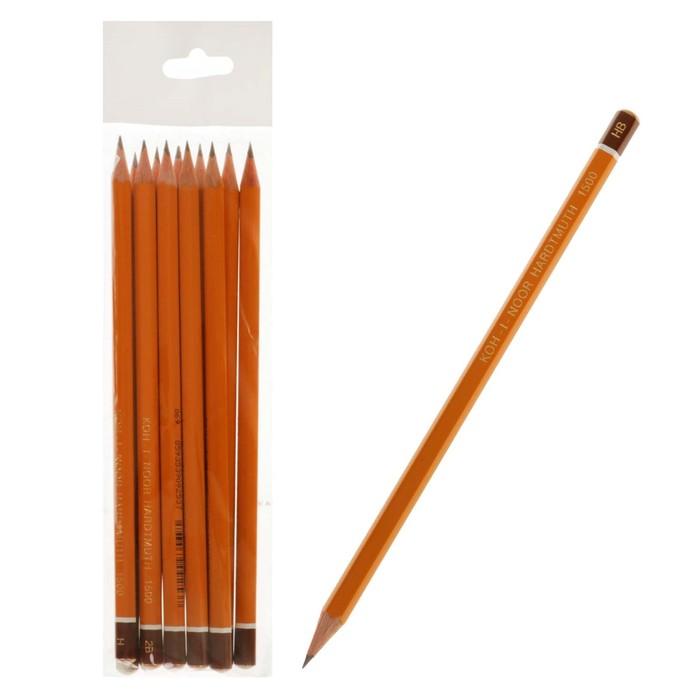 Набор карандашей чернографитных разной твердости 12 штук Koh-i-Noor 1500/12, 3B-3H