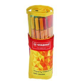 Набор ручек капиллярных 25 цветов Stabilo point 88 0.4 мм, FAN 8825-02 текстильный футляр на липучке