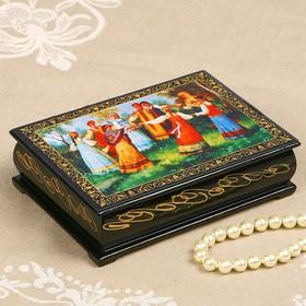 Шкатулка «Хоровод», лаковая миниатюра, 10×14 см