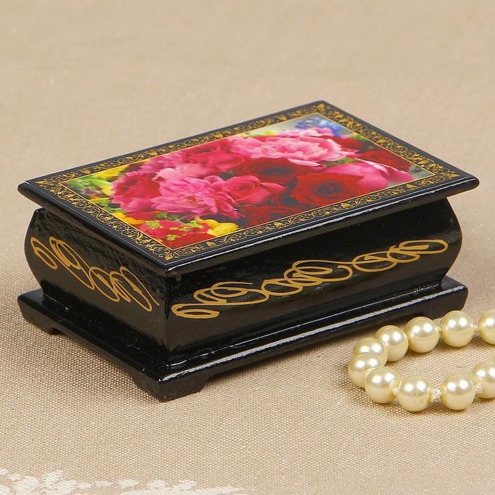 Шкатулка «Пионы с розами», 6×9 см, лаковая миниатюра