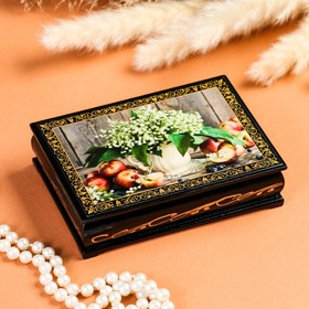 "Jewelry box ""Lily of the valley in a jar"", 10×14 cm, lacquered miniature"